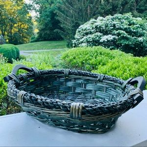 Large Brown Wicker Woven Basket with Handles